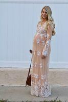 kadınlar için mütevazi gece elbiseleri toptan satış-Romantik Şampanya Abiye Hamile Kadınlar Için Derin V Boyun Uzun Kollu Dantel Gelinlik Modelleri Kat Uzunluk Modest Türkiye Örgün Parti kıyafeti