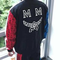 mangas de nylon al por mayor-18AW PMA-MC Joint Color Baseball Uniform Retro Street Fashion chaqueta de manga larga Alta calidad Casual hombres y mujeres pareja chaqueta HFSSJK031