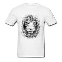 ingrosso tessuti di leone-Maglietta Sconto Uomo 2018 T-Shirt Girocollo Mother Day 100% Cotone T-shirt Lion Slim Fit Maglietta King Of Nature a maniche corte
