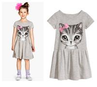 Wholesale tutu length age - Pretty girls kids summer dress cotton short sleeve cat print party dress cute girls dress age 2-8Y