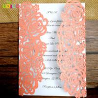 оранжевая свадебная свадьба оптовых-Горячая лазерная резка кружевной бумаги с розовым блеском пригласительная открытка на день рождения оранжевого цвета (только для лазерной резки)