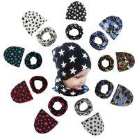 Wholesale toddler girl crochet hat sets - Baby Hats Scarves Set Camo Stars Printed Spring Autumn Winter Girl Boy Cap Children Toddler Kids Hat Scarf Set NNA287