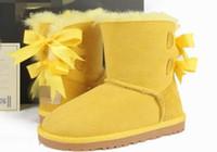 botas de sapato preto n branco venda por atacado-Frete grátis top quality austrália wgg 3280 classic alto inverno botas de couro real bailey bowknot mulheres bailey bow botas de neve sapatos de inicialização