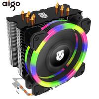 disipador de calor cpu cooler al por mayor-Aigo 5 Heatpipes CPU Cooler Radiador Led RGB Halo Light Heat Sink para AMD Intel Silent 120mm 4PIN PC CPU Cooling Cooler Disipador térmico