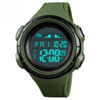 часы двойные цифровые часы оптовых-Мужские Цифровые спортивные светящиеся водонепроницаемые часы с будильником секундомер двойной часовой пояс