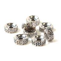 weiße metallarmbänder großhandel-DIY 8x3mm Retro Thai Silberlegierung Kleine Accessoires Weiß Kupfer Silber Überzogene Metall Rad Zurück Grain Septa Fit Für Buddha Armband