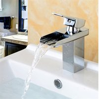 Wholesale waterfall bathroom vessel sink faucet - Wholesale And Retail Deck Mount Waterfall Bathroom Faucet, Vanity Vessel Sinks Mixer Tap Cold And Hot Water Tap Chrome Finish