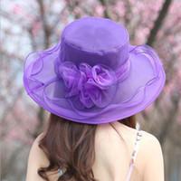 Wholesale dress hat for sale - Women Church Sun Hat Wide Brim Cap Wedding Dress Tea Party Floral Beach Caps Summer Anti Sun Hat