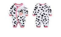 Wholesale cow outfits resale online - New cow newborn romper baby long sleeve clothes cotton infant baby girls boys one piece romper outfits toddler jumpsuit