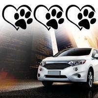 ingrosso vinile vinile adesivi-Mix Invia Lovely Puppy Paw Stickers Cuore Vinyl Decal Dog Paws Adesivi riflettenti Car Body Window Sticker 4 colori epacket gratuito