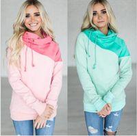 Wholesale hood fleece - women Patchwork Hoodies Sweatshirts PINK Green color Patchwork Hooded Female hood Sweatshirt Autumn Coat Pullover KKA5650