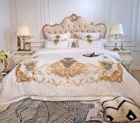 königin blätter ägyptische baumwolle großhandel-Weiß Luxury Bedding Set Bettwäsche aus ägyptischer Baumwolle Bettwäsche aus ägyptischer Baumwolle Queen King Size Bett Bettwäsche Bettlaken Kissenbezug