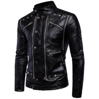 Wholesale Leather Jackets For Men 5xl - fashion warm winter black Men's outerwear long sleeve coats multi zipper cool PU leather jackets for men