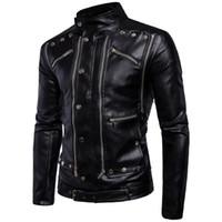 Wholesale Leather Jacket Blue Man - fashion warm winter black Men's outerwear long sleeve coats multi zipper cool PU leather jackets for men