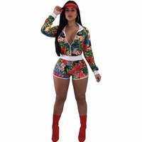 lindos abrigos cortos al por mayor-Vacaciones de verano Impresión tropical Moda 2 piezas Conjuntos Mujeres Sexy Cremalleras de manga completa Abrigos con mosca Tops lindos Cintura alta Mini Shorts