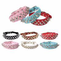 Wholesale Padded Leather Neck Collar - Dog Collars Candy Color Leather Rivet Spiked Puppy Necklace Studded Pet Dog Adjustable Collar Neck Collare Cane