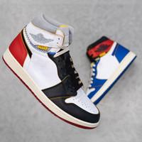ayakkabı telleri toptan satış-Yeni Union x 1 Yüksek OG NRG 1s Basketbol Ayakkabı Kırmızı Mavi Benzersiz Tasarımcı Moda Lider Erkek Eğitmenler Spor Ayakkabı