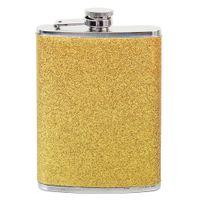 botellas de mini brillo al por mayor-8 oz de acero inoxidable bolsillo Hip Flask Men exterior portátil Mini botella de vino Flagon Whisky Pot Gold Glitter Drinkware