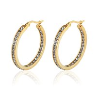 Wholesale Half Circle - whole saleHot Sale Inlay Zircon Half A Circle Hoop Earrings For Women Titanium Steel Gold Color Woman Crystal Earrings Jewelry Gift