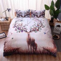 hirsch bettwäsche set königin großhandel-Kostenloser Versand Deer Forest Printed Bettbezug Set Einzel Doppel Queen King 2 / 3pcs Bettwäsche Bettwäsche Tier Bettwäsche-Sets
