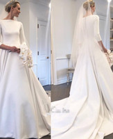 Wholesale Long Sleeve Wedding Dress Styles - 2018 New Meghan Markle Style A Line Wedding Dresses With Long Sleeves Sweep Train Covered Buttons Back Custom Made Garden Bridal Gowns