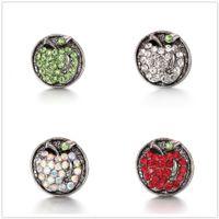 boutons en forme de pomme achat en gros de-20pcs / lot 18mm forme de pomme bouton pression cristal antique Argent pression bijoux rétro alliage Ginger Snap charme en métal fit Bracelets colliers anneaux