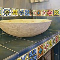 ingrosso adesivi gialli della farfalla-8 * 8 cm / 12 * 12 cm stile marocchino adesivi per piastrelle retrò soggiorno adesivi murali cucina bagno diy stickers murali 10 pz / set