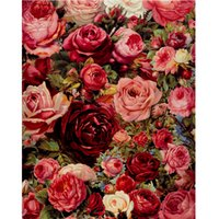 Wholesale Framed Canvas Acrylic Paintings - Wholesale-Rose oil painting by numbers diy digital painting acrylic paint by numbers 40X50cm flowers pictures wall art frameless GX7524