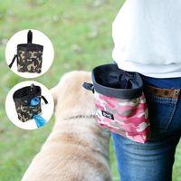 contenedores de comida rápida al por mayor-Bolsa de entrenamiento de alimentos para mascotas de camuflaje Snack para perros Cachorro de invitación para llevar Dispensador de bolsos para refrigerios Bolsa para contenedores de alimentos FFA318 2COLORS