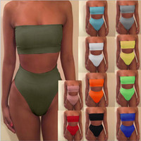 bikini top sexy girl achat en gros de-Couleur unie tube haut deux pièces femmes maillot de bain sexy maillot de bain femme taille moyenne bikini filles ensemble maillot de bain femme