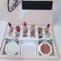 Wholesale sticker lipstick - 2018 In Stock Hot Branded 9 in 1 Makeup Collection Set Lipgloss+Lipstick+Killawatt Highlighter+Blotting Powder+Contour Sticker Free Shipping