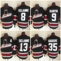 kariya jersey venda por atacado-Vintage Anaheim Mighty Ducks Hockey Jerseys 8 Teemu Selanne 9 Paul Kariya 35 Jean-Sébastien Giguere 13 Teemu Selanne 1998 CCM Jersey