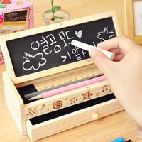 Wholesale wooden pencil cases - 1 PC Kawaii Wooden Pencil case with blackboard & eraser for School & Office, WJH00001