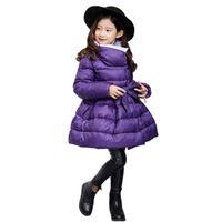 casacos de inverno elegantes e brancos venda por atacado-Menina bonito parkas casaco elegante macacão de algodão sólido para 4-12yrs crianças meninas casaco de inverno criança grossa outerwear quente casaco