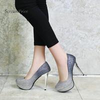 ingrosso pompe della piattaforma dell'oro nero-Bling Platform Thin High Heel Donna Lazy Pumps Moda Shallow Party Shoes Donna Black Blue Gold