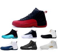 Wholesale Race Racing Games - Men Women Retro 12 Basketball Shoes Athletic Outdoor Shoes Cheap Best Air Retro 12 Wool XII Ovo White Flu Game wolf grey Gym Red