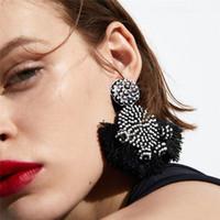 Wholesale drip drop - tassel drop Earrings for women 2018 new fashion Luxury boho personality Thread Dripping Dangle earrings Vintage geometric Jewelry wholesale