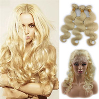 Wholesale russian blonde hair weave resale online - 613 Russian Blonde Virgin Hair Weaves With Frontal Closure Bundles With Pre Plucked Lace frontal Body Wave Human Hair