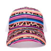 головные уборы оптовых-Serape Leopard Hat оптовые заготовки полосы Leopard Hat дети подарок сетка Cap с Бесплатная доставка DOM1061116
