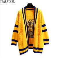 gelbe strickjacke für frauen großhandel-2018 Winter Strickjacke Frauen Übergroßen Gelben Pullover Marke Mode Hundedruck V-ausschnitt Beiläufige Gestrickte Lange Pullover Warme Strickwaren
