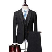 große anzüge großhandel-Männer Anzug High-End-Wolle schlanke Business-Party Kleid Bräutigam Hochzeit Anzug modische beiläufige große Größe S-6XL für große Männer Anzüge