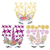 mural arts flor venda por atacado-Flor colorida Unicórnio Animal Adesivo de Parede 3D Art Decal Adesivo de Parede Quarto de Berçário Decoração Da Parede Mural Art Home Decor