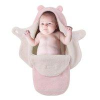 rosa baumwoll-babydecke großhandel-Baby Supplies Schlafsack Pink Swaddle Wrap Flauschig Komfortable Baby Doppelschichten Anti-Kicking warme Decke Tasche für Kleinkinder