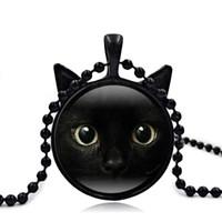 colar de gato opala venda por atacado-Designer de jóias colar para as mulheres homens black cat rosto pingente de tempo colar de opala hot fashion livre de transporte