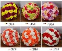 Wholesale Flower Basket Designs - Silk Rose Flower Balls 5pcs 15cm Diameter Kissing Balls 57 ColorS Designs for Wedding Party Shops Artificial Decorative Flowers