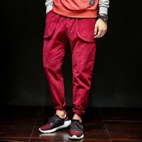 Wholesale coffee spring - Harajuku Pants for Men Spring Autumn Casual Pencil Pants Wine Red Coffee Black Loose Long Trousers Multi Pockets Design Sports Joggers