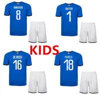 Wholesale Italian Cup - 3AAA+2018 World Cup Kids Italy home blue soccer jerseys Italian national team VERRATTI 10 PIRLO 21 Buffon 1 Football jerseys uniform kids.