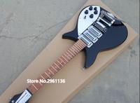 comprimento da guitarra venda por atacado-RIC John Lennon 325 Comprimento Escala Curta 527mm Jetglo 6 Cordas Preto Guitarra Elétrica Grandes Tremolo Gloss Paint Fingerboard, 3 Toaster Pickups