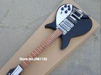 elektrik gitarı siyah tremolo toptan satış-RIC John Lennon 325 Kısa Ölçekli Uzunluğu 527mm Jetglo 6 Dize Siyah Elektro Gitar Bigs Tremolo Parlak Boya Klavye, 3 Tost Pickups