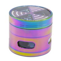Wholesale windows signal for sale - Diameter MM rainbow color Zinc Alloy Four Colorful Side Window Signal Tooth Transparent Cover Grinding Smoke Tobacco Crusher Herb Grinder